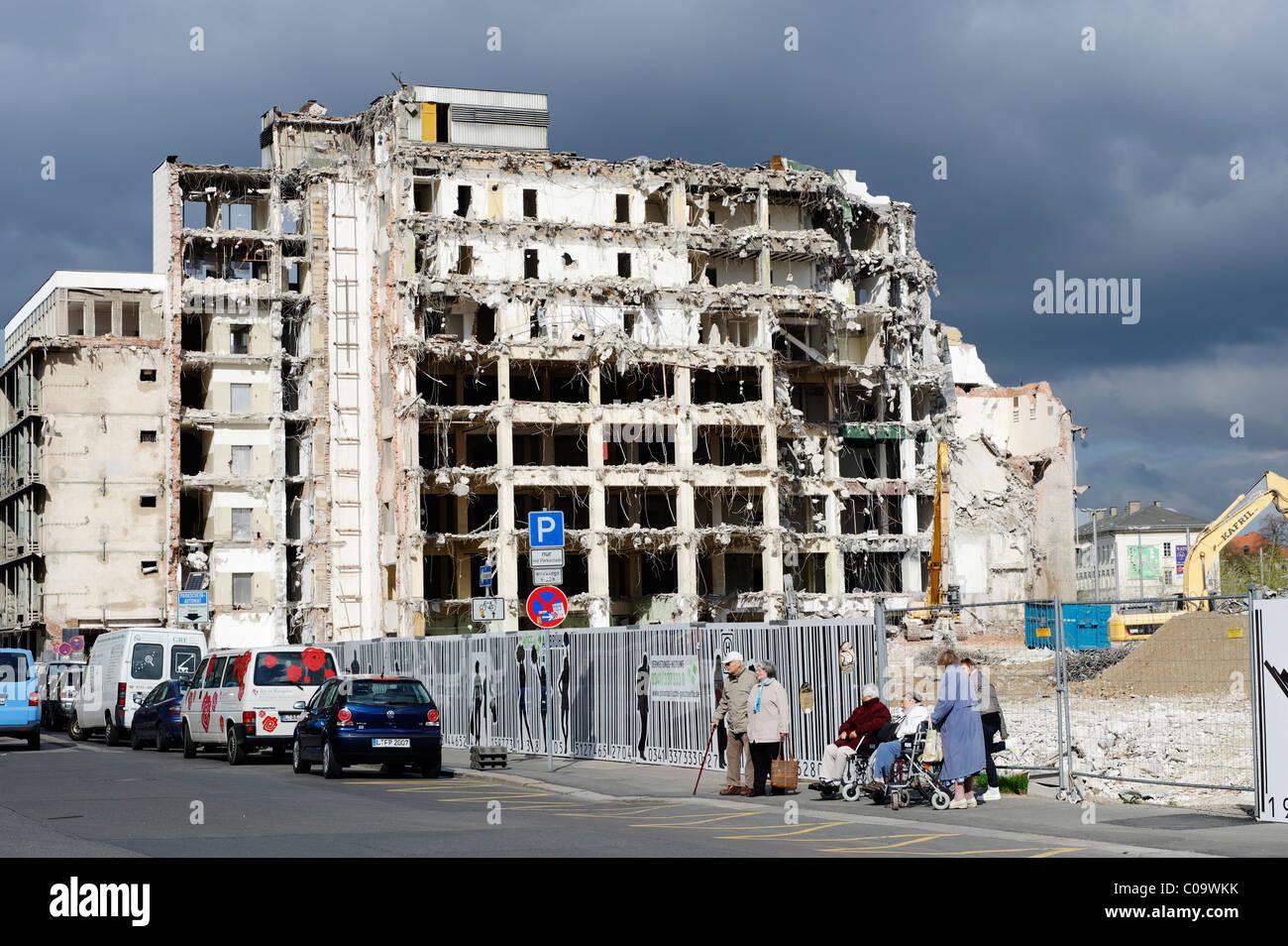 House demolation on Richard-Wagner-Strasse, Leipzig, Saxony, Germany, Europe - Stock Image