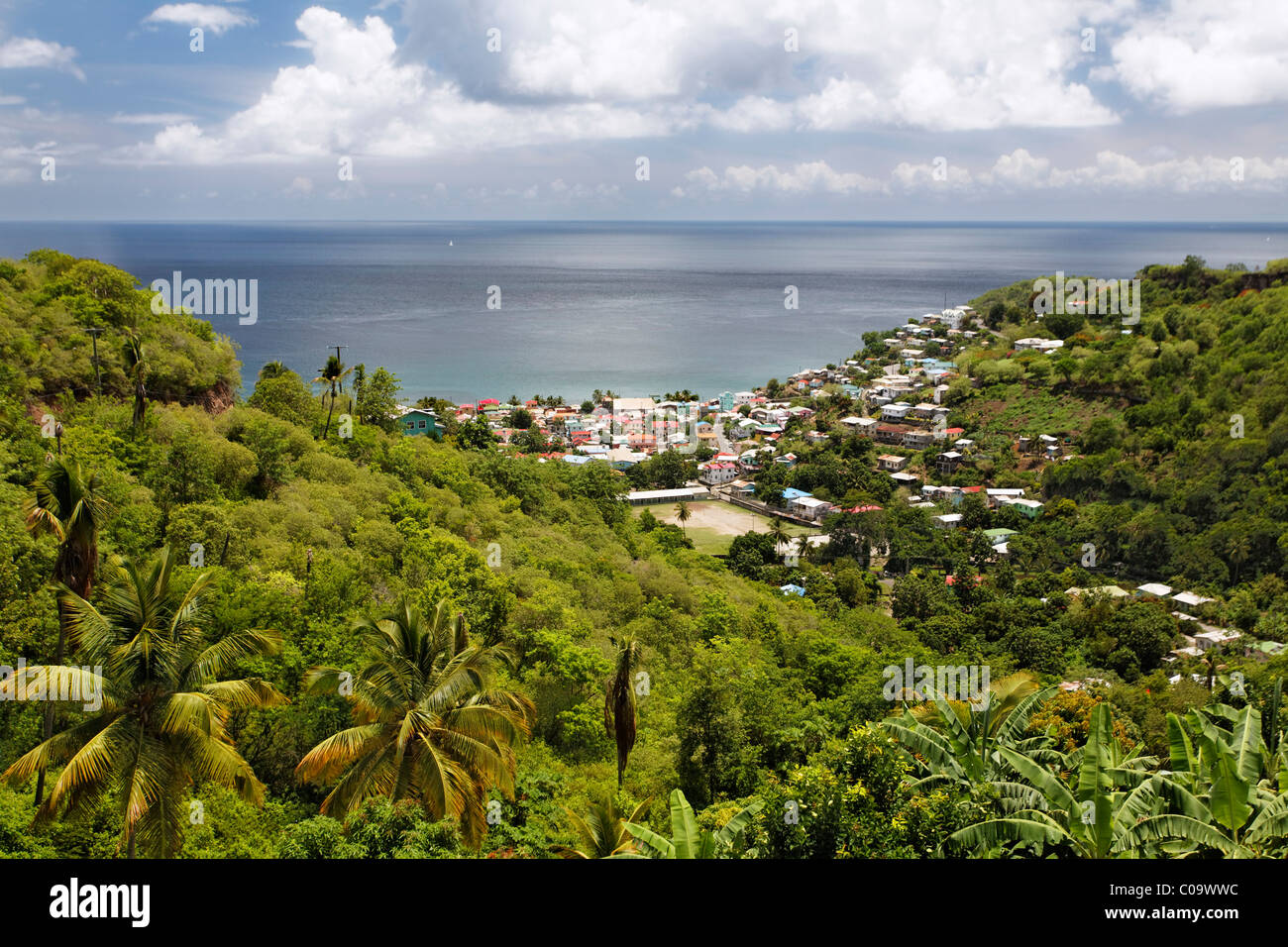 Green tropical island landscape, bay, ocean, city, Canaries, Saint Lucia, LCA, Windward Islands, Lesser Antilles, - Stock Image