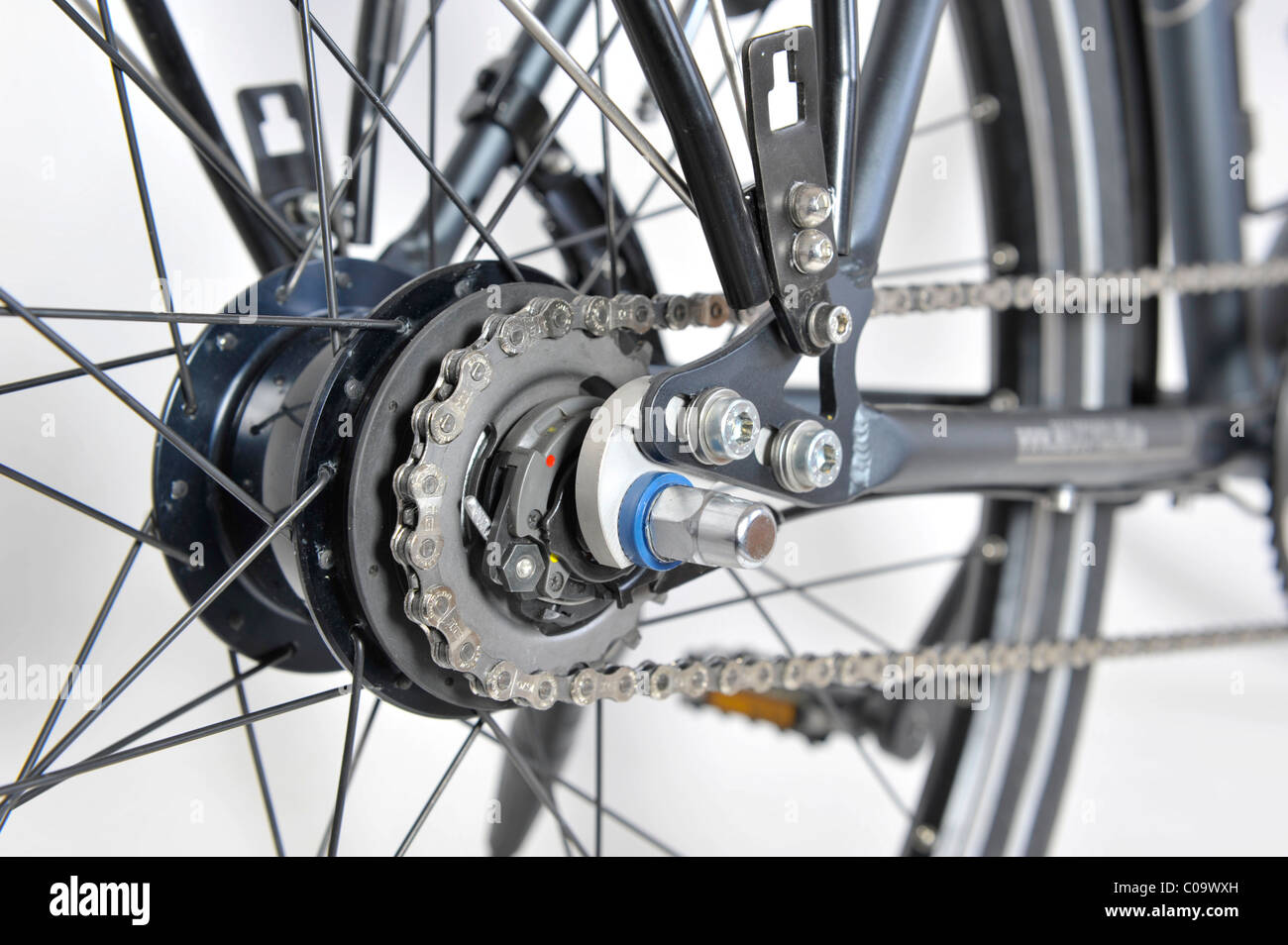 Drive of an 8-speed gear hub of a bicycle - Stock Image
