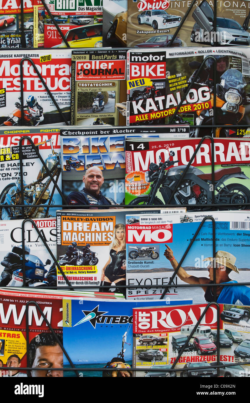 Motorsport magazine on newspaper stand, German editions - Stock Image