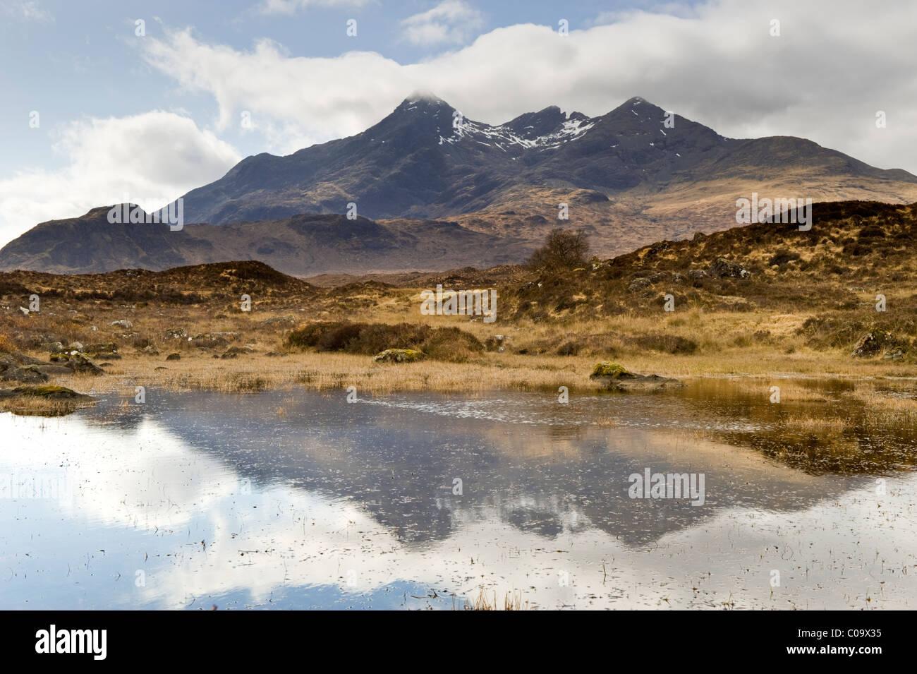 The Black Cuillin Hills from Sligachan, Sligachan, Isle of Skye, Inner Hebrides, Scotland, UK - Stock Image