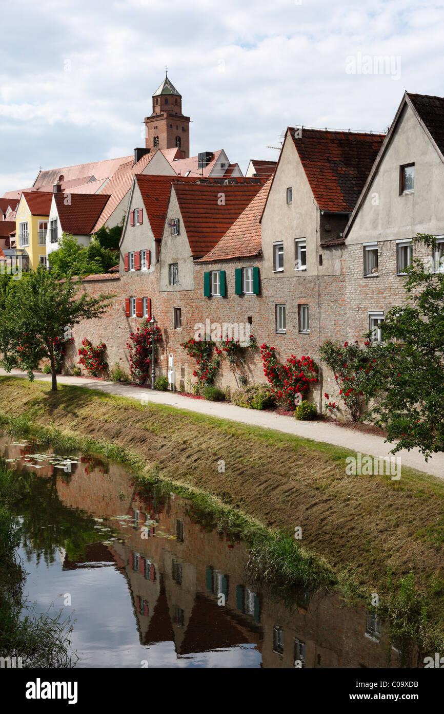 Kleine Woernitz river, city wall, Donauwoerth, Donauried, Germany, Swabia, Bavaria, Germany, Europe - Stock Image