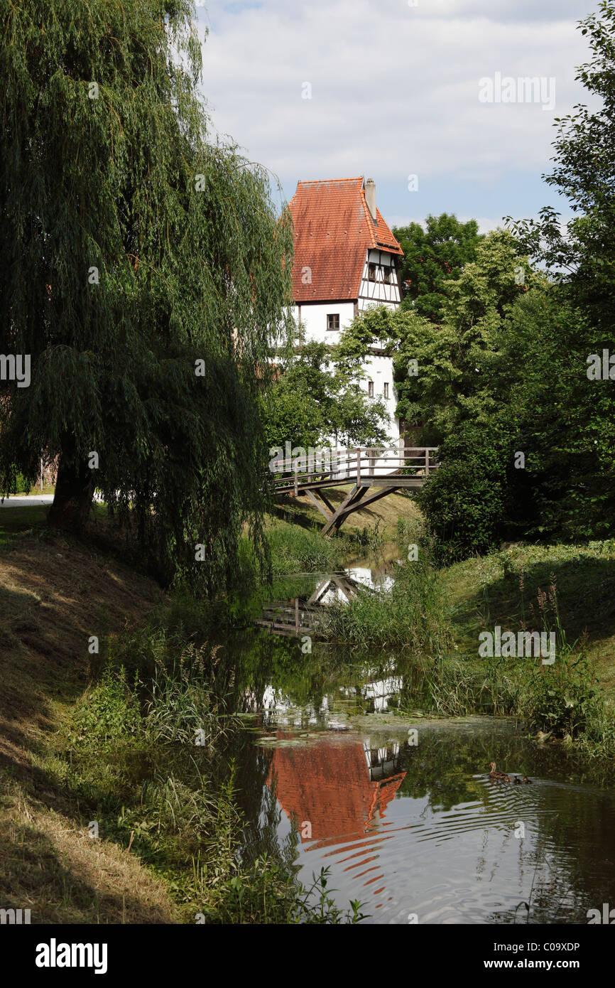 Faerbertoerl gate, Kleine Woernitz river, Donauwoerth, Donauried, Swabia, Bavaria, Germany, Europe - Stock Image
