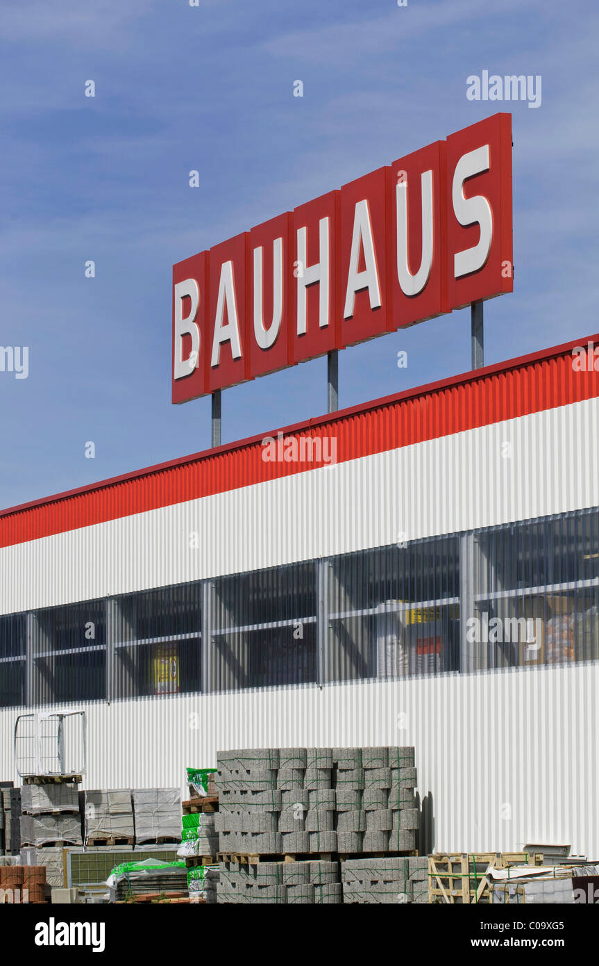 Bauhaus, hardware store, goods in front of the market, logo - Stock Image