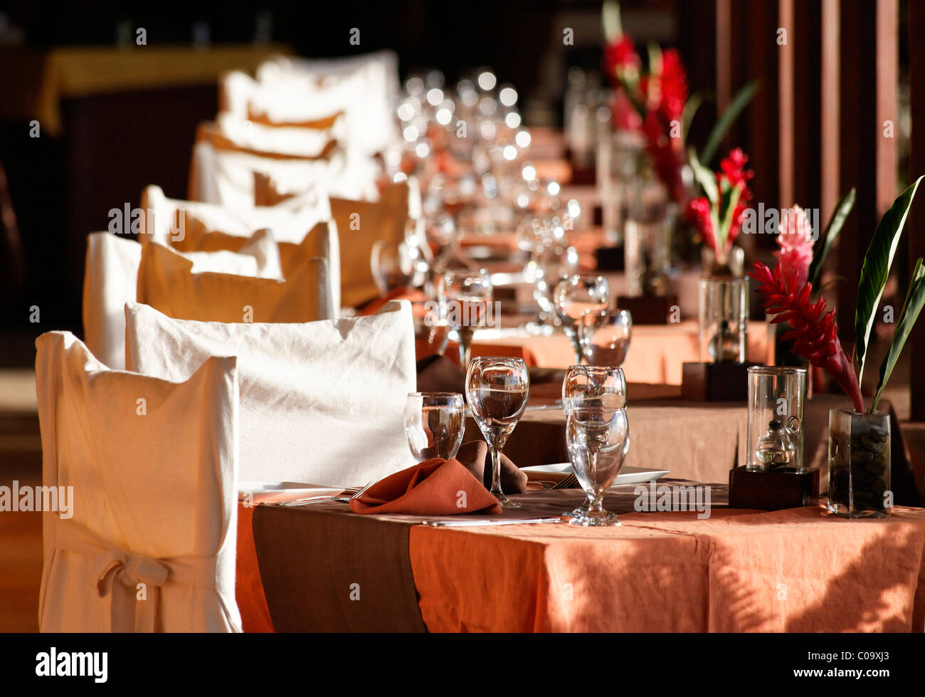 Festively laid table, chairs, Luxury Hotel Anse Chastanet Resort, LCA, St. Lucia, Saint Lucia, Island Windward Islands - Stock Image