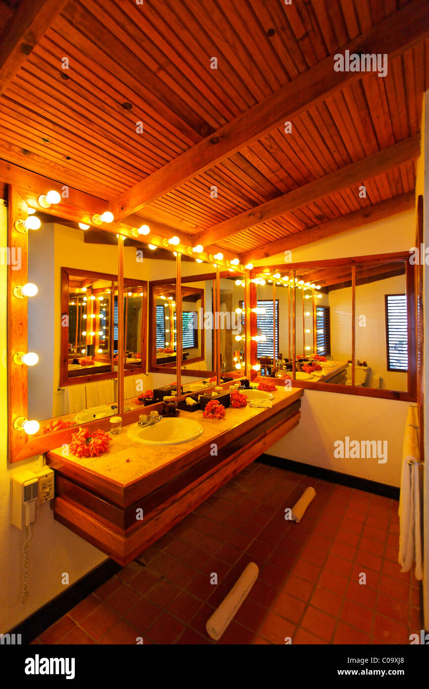Mirrored bathroom with lit bulbs, Luxury Hotel Anse Chastanet Resort, LCA, St. Lucia, Saint Lucia island, Leeward Stock Photo