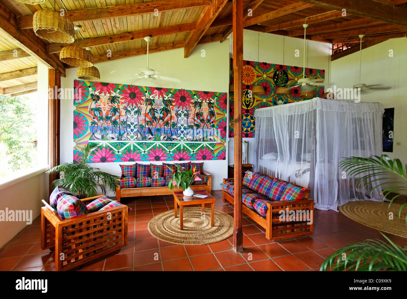 Hotelroom with original art by Claude Sandoz, Luxury Hotel Anse Chastanet Resort, LCA, St. Lucia, Saint Lucia - Stock Image