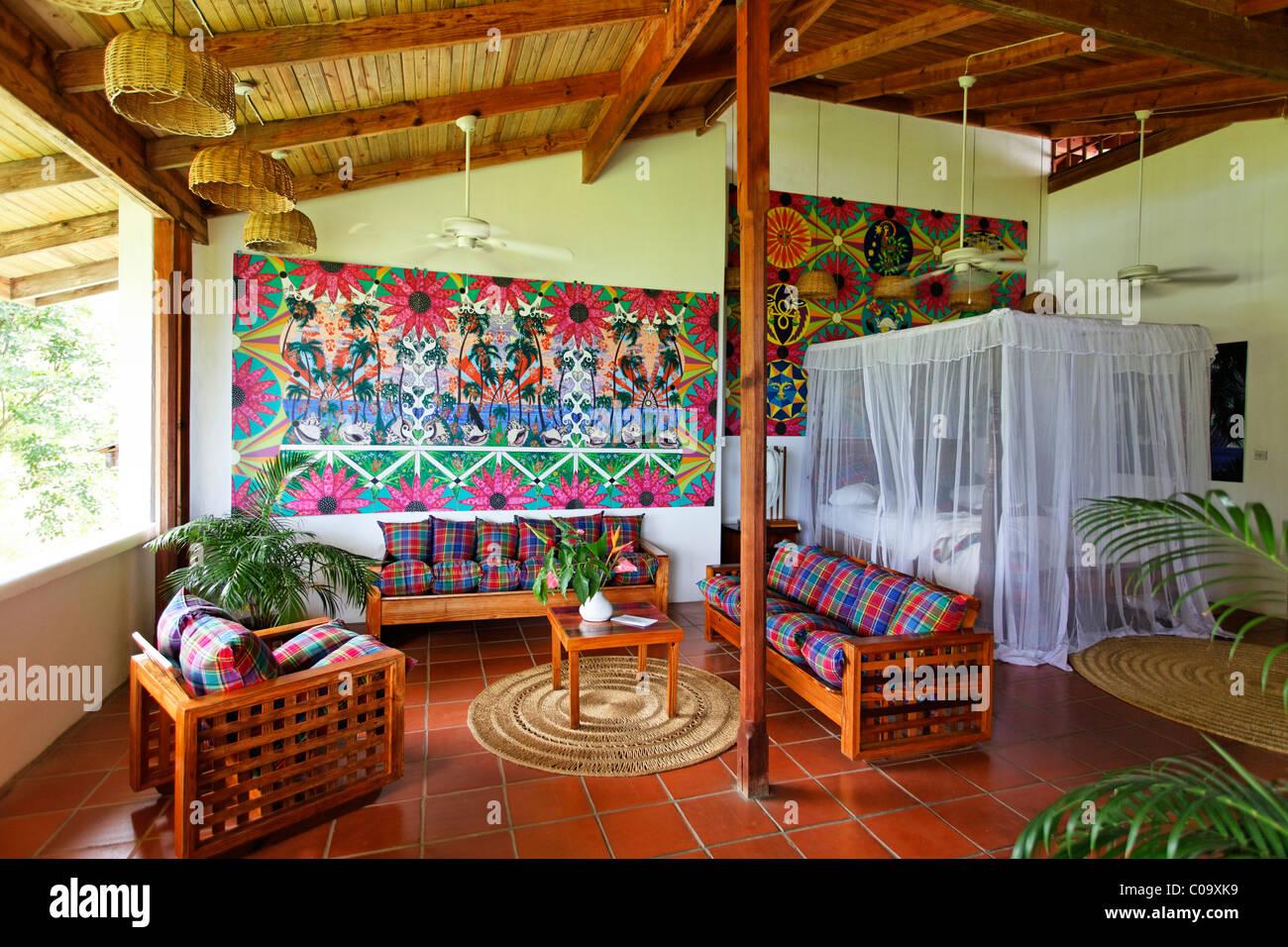 Hotelroom with original art by Claude Sandoz, Luxury Hotel Anse Chastanet Resort, LCA, St. Lucia, Saint Lucia Stock Photo