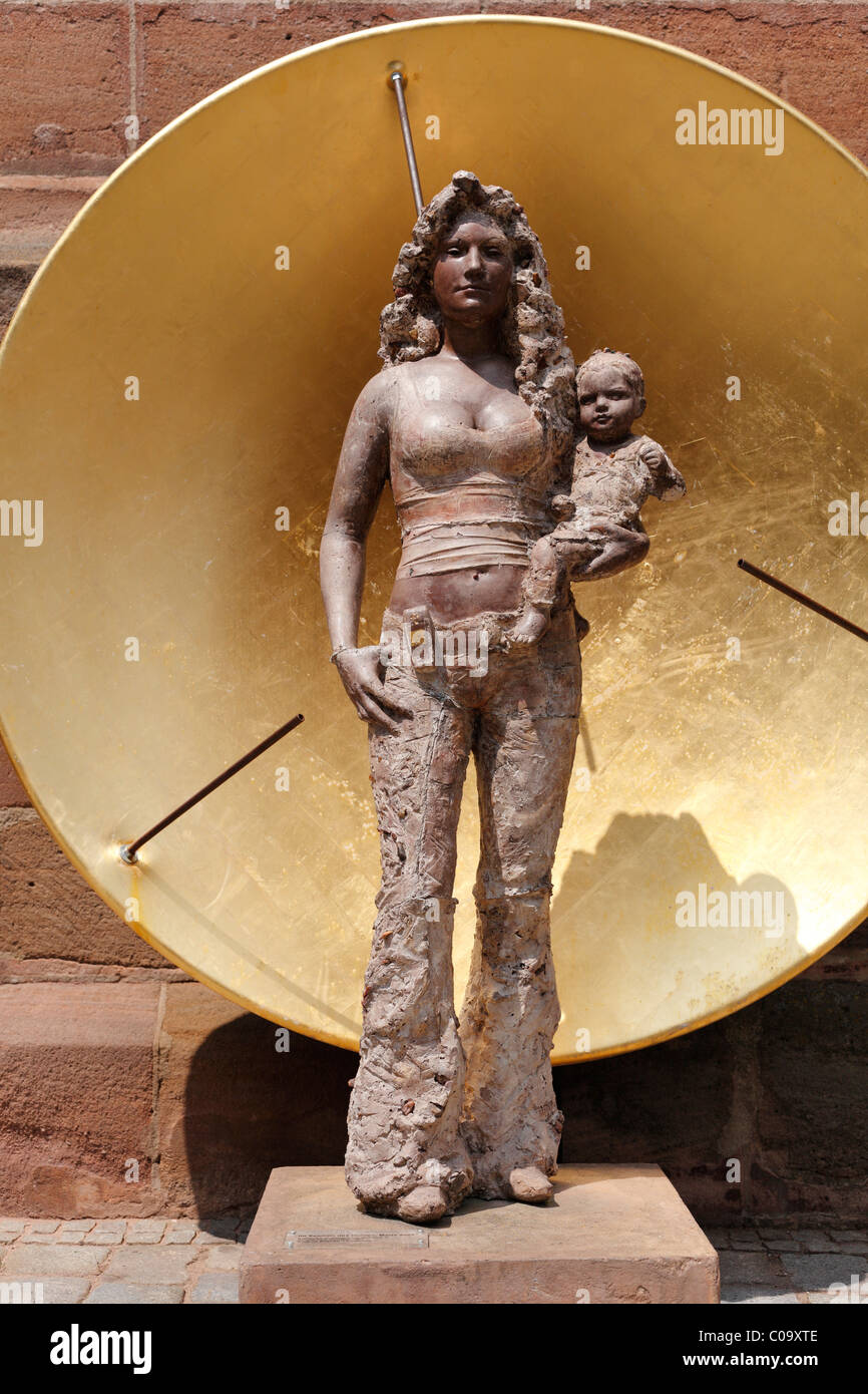 Sculpture, 'Im Zeichen des Goldes, Maria 2007', german for 'In the sign of gold, Maria 2007' by - Stock Image