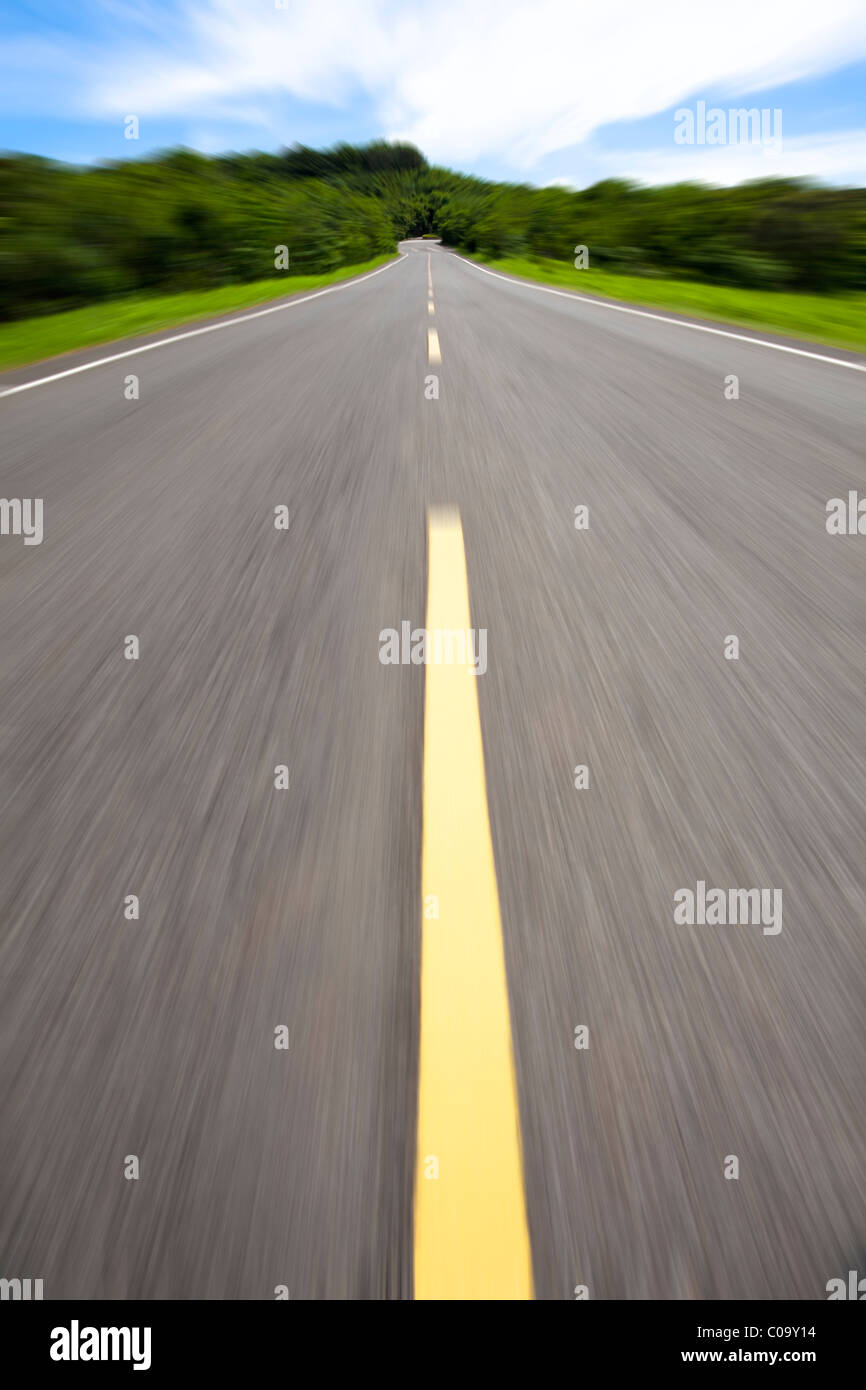 high speed and empty road - Stock Image