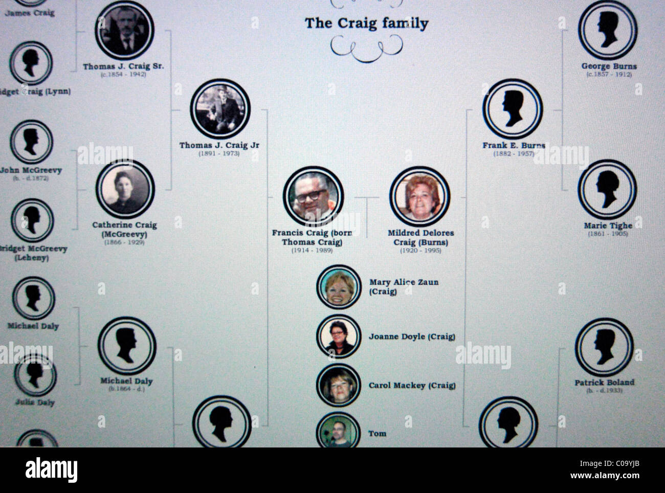 Craig Family Tree, 7 Generations, PICTORIAL , 'GENEALOGY CHART', - Stock Image