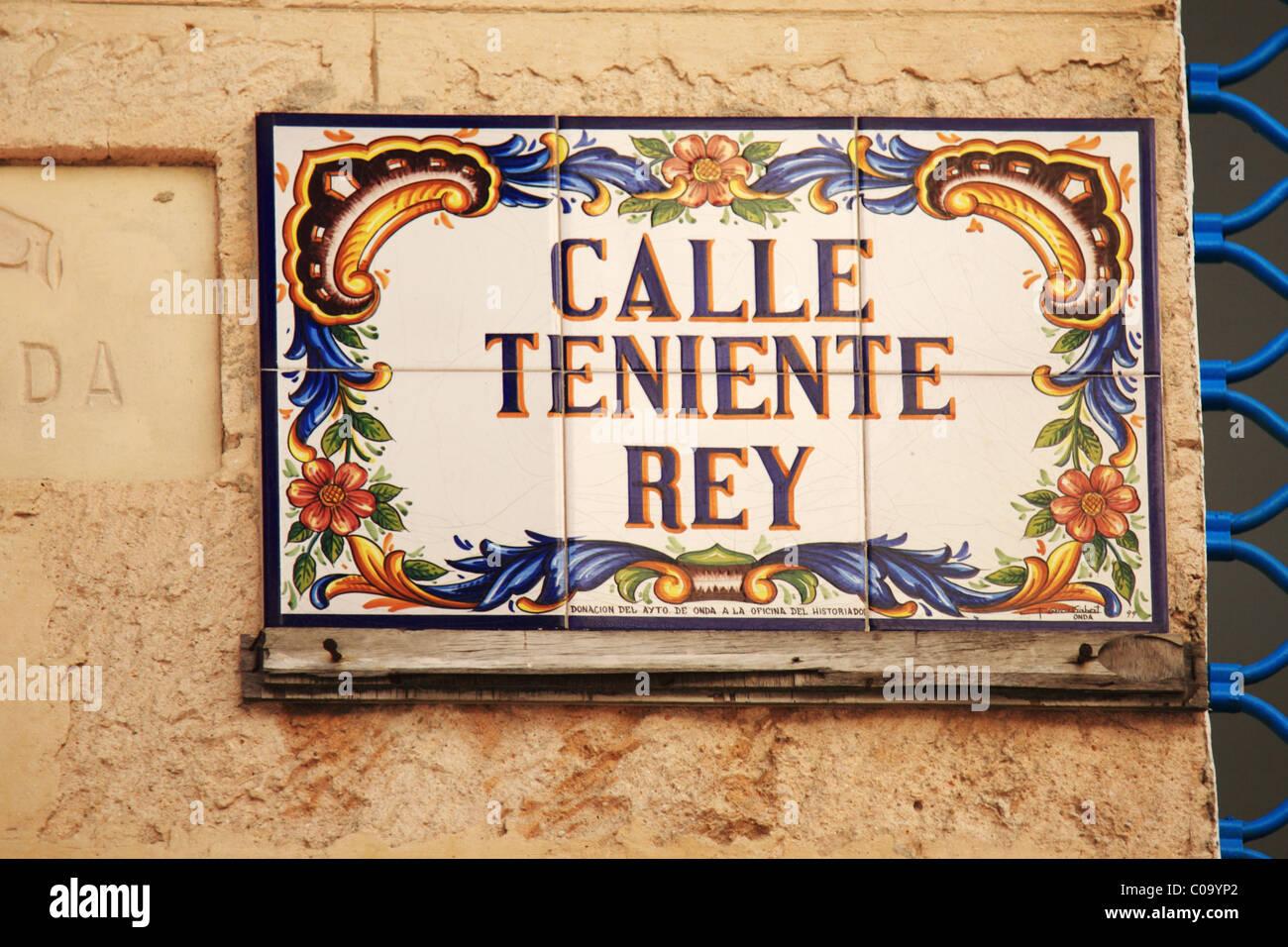 Sign for Calla Teniente Rey in Havana, Cuba - Stock Image