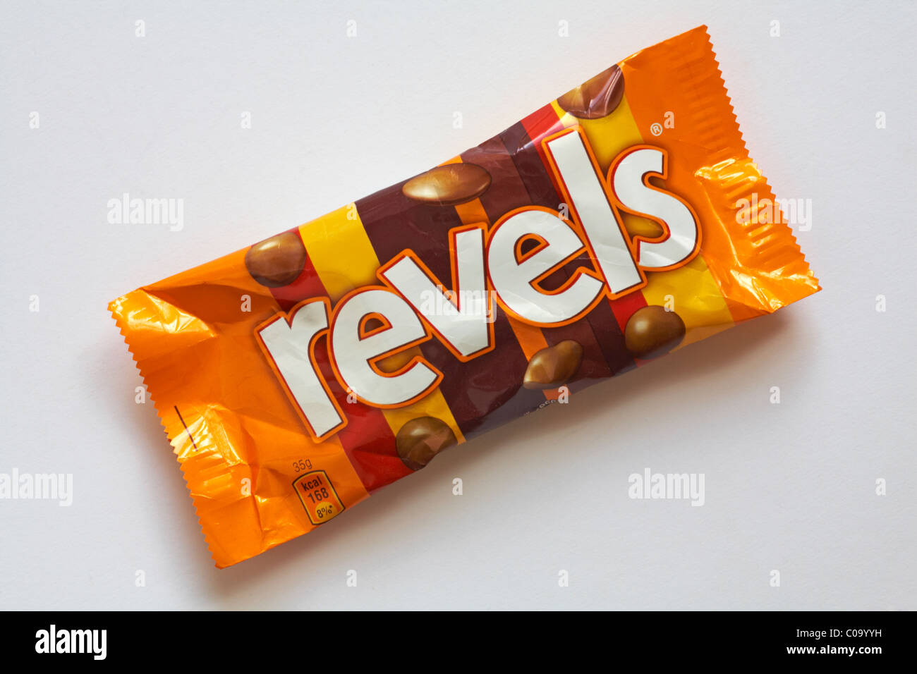 packet of Revels chocolates isolated on white background - Stock Image