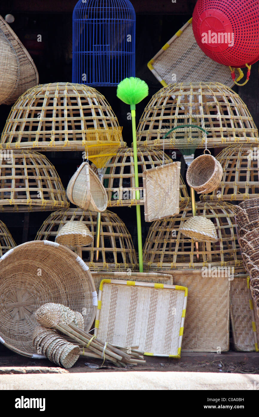 bamboo buckets and babmboo products for sale displayed in a shop in