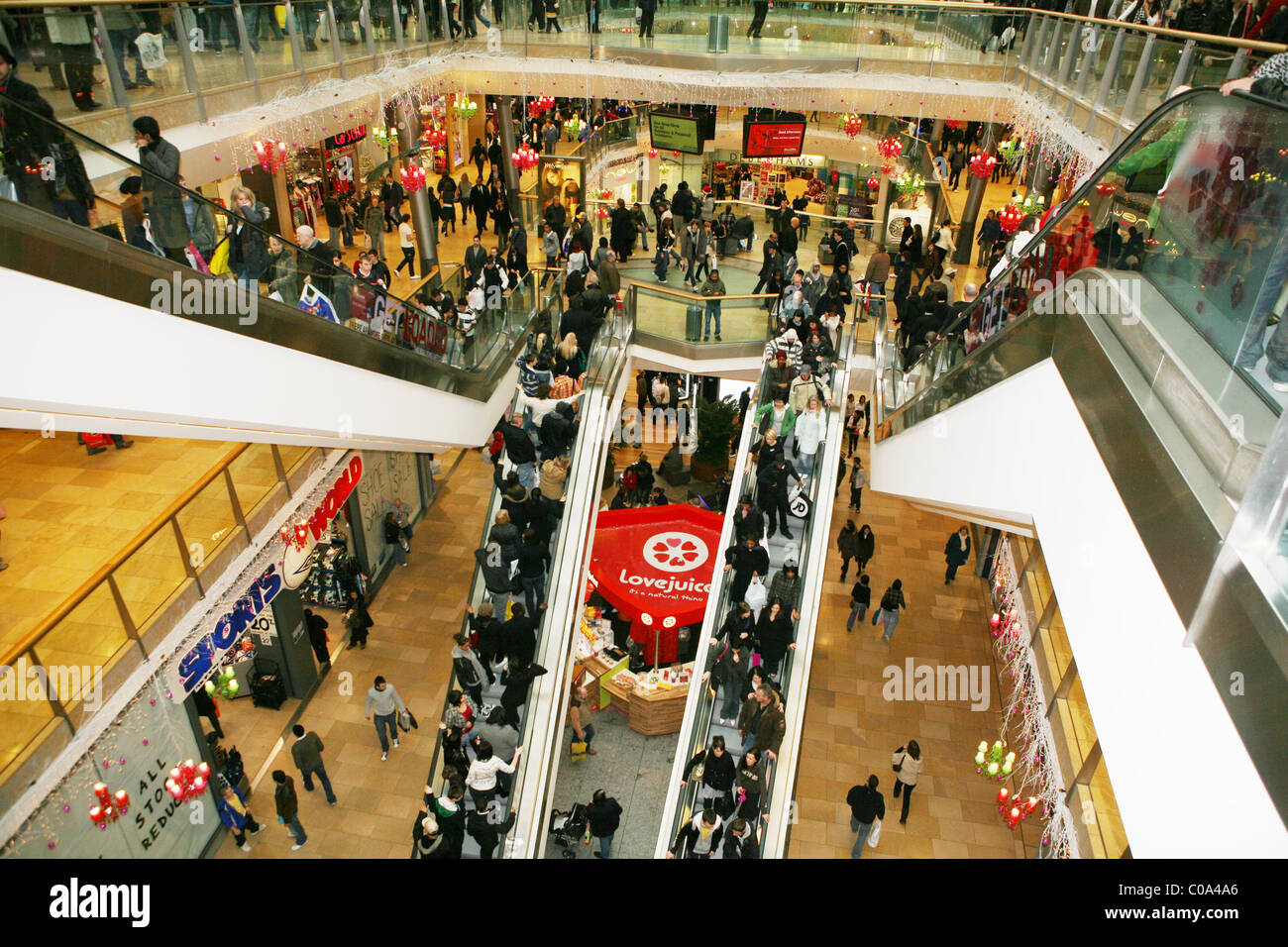 Shopping Mall packed with shoppers at the Westfield shopping centre - Stock Image