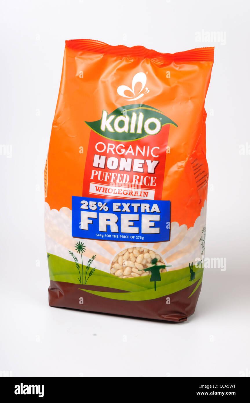 Organic Honey Puffed Rice Wholegrain Breakfast Cereal . Stock Photo
