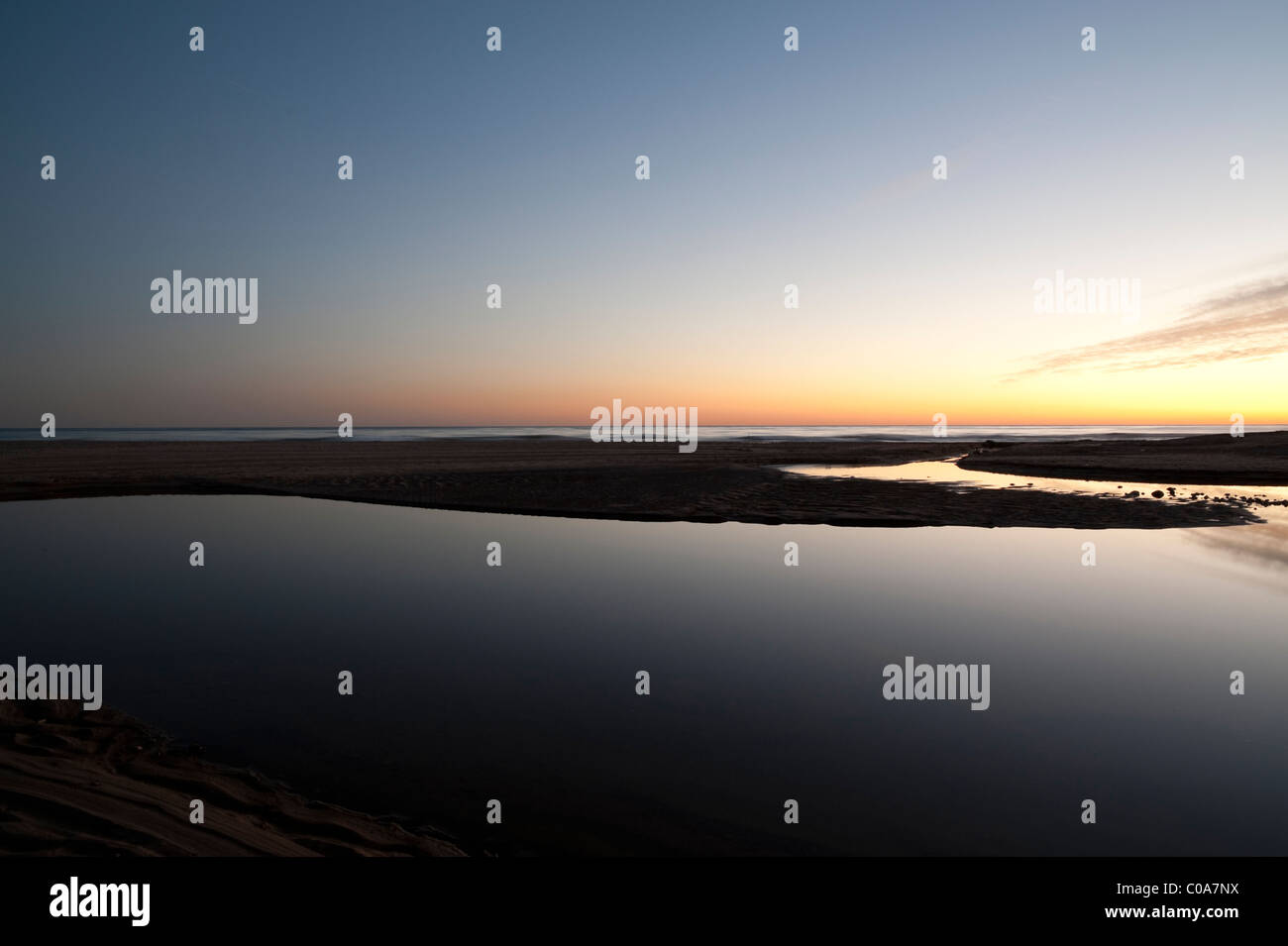 Sunset, sea and sky, Blue hour, Calm, Harmony, Meditation, Peace, Horizont - Stock Image