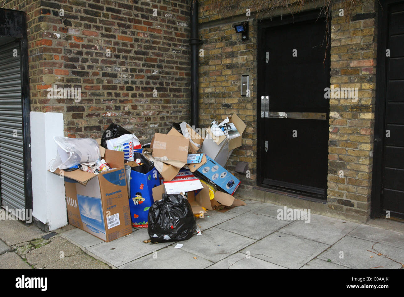 Rubbish Staking Up Outside The Front Door The Amy Winehouseu0027s New Home  Which Includes An Empty Box For A New HD TV, New Vacuum