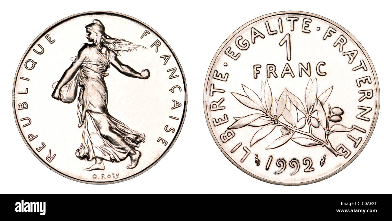 1 French Franc coin from 1992 - Stock Image