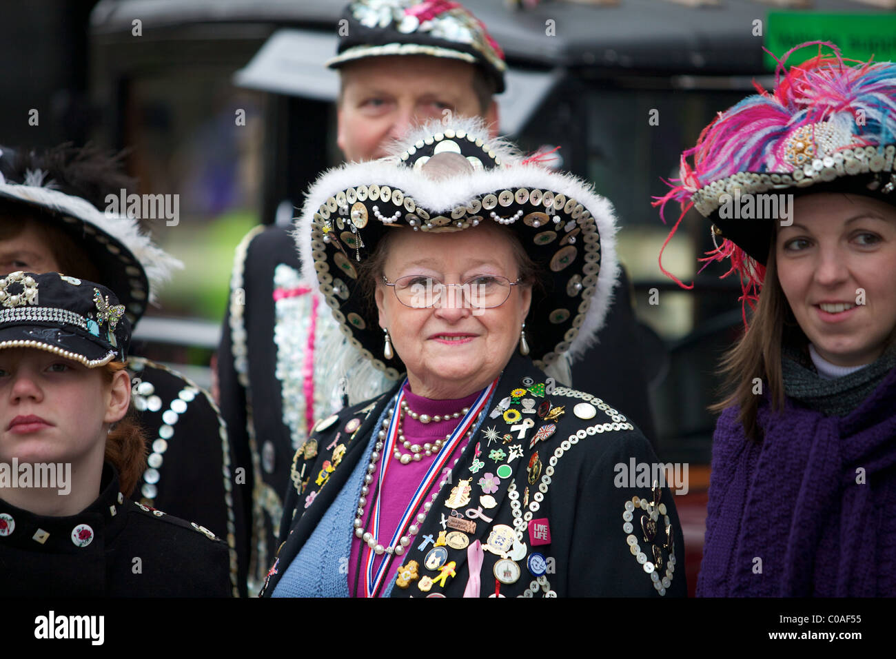 Pearly King and Queens at The New Years day Parade London - Stock Image