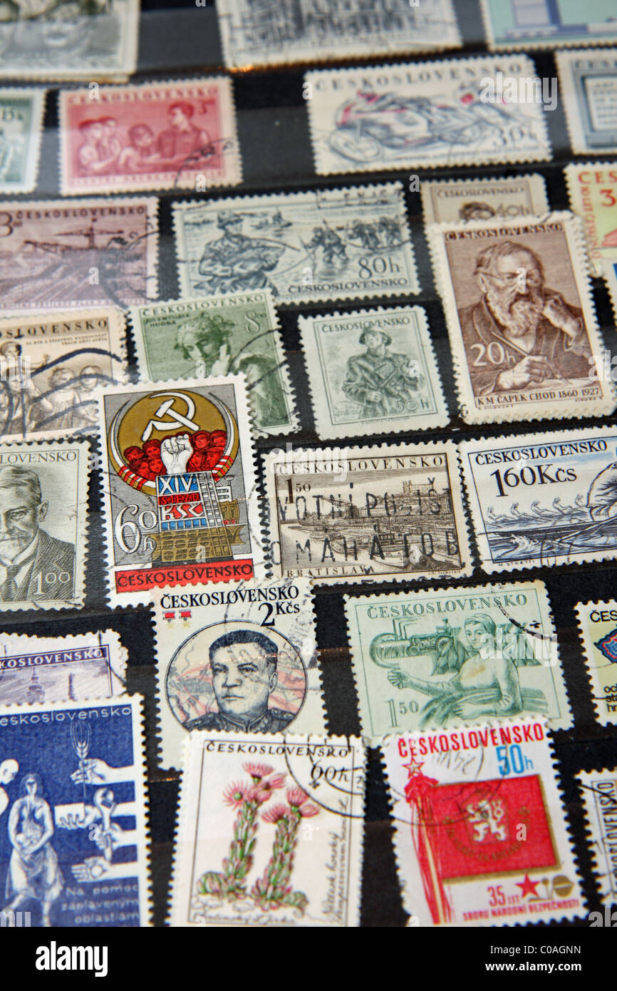 Czechoslovakian stamps (communist era) - Stock Image