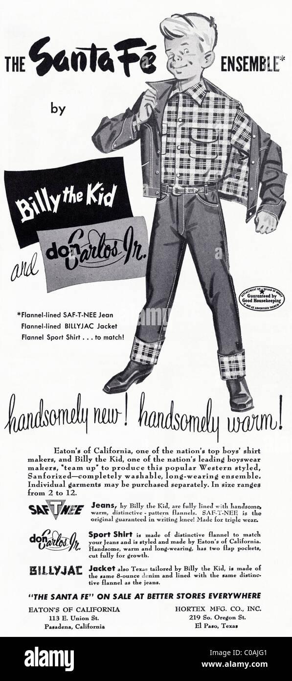 Original 1950s advertisement in American consumer magazine for SANTA FE boys clothing - Stock Image