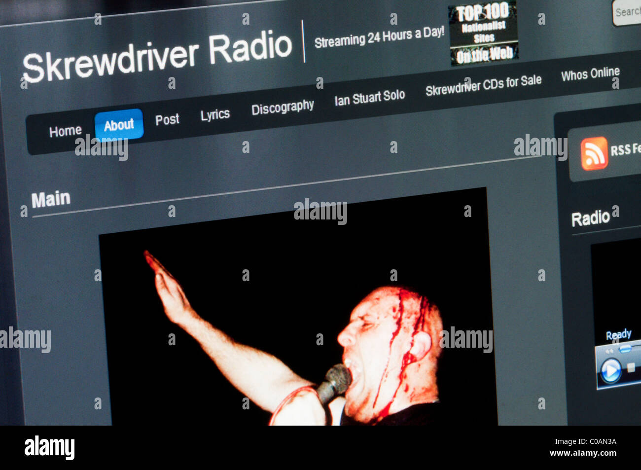 Far right wing extremist Skrewdriver Radio broadcast over the internet Stock Photo