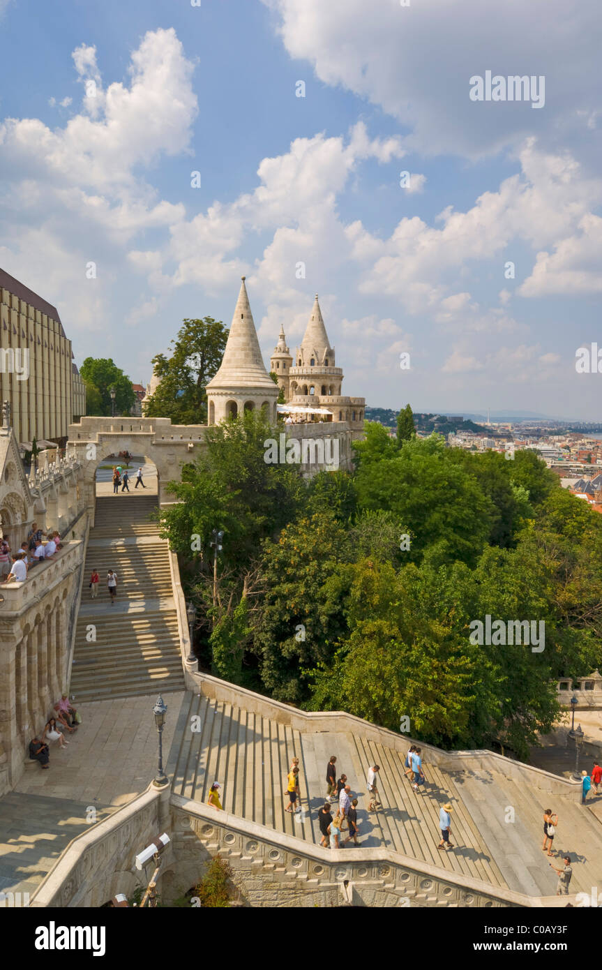 Fishermen's Bastion and steps Budapest, Hungary, Europe, EU - Stock Image