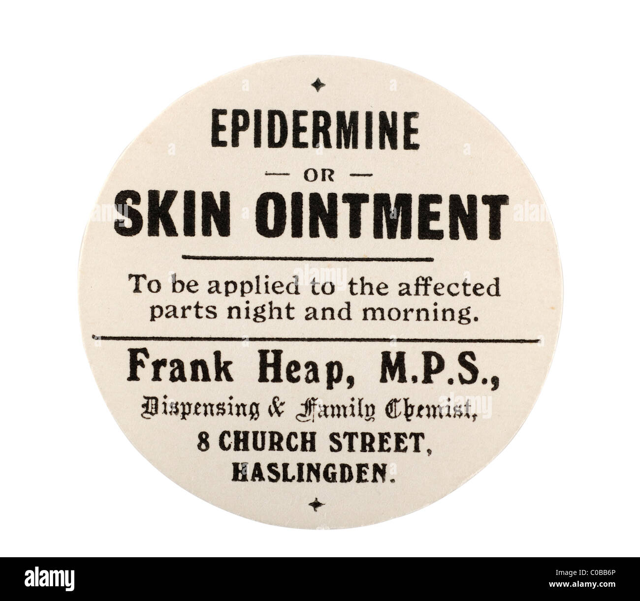 Old vintage chemist label for epidermine skin ointment from Frank Heap M P S in Haslingden. EDITORIAL ONLY - Stock Image
