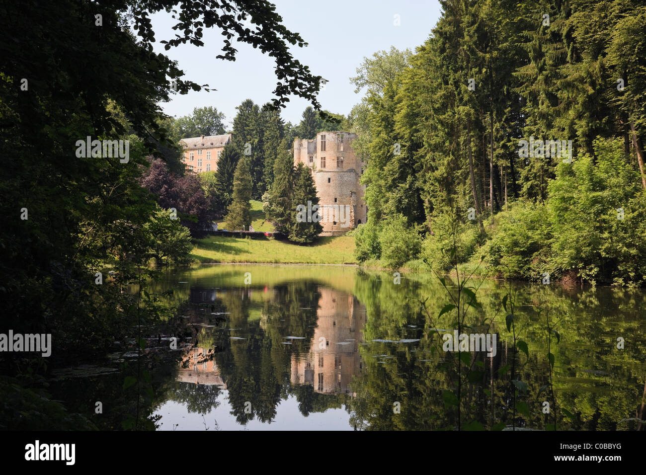 Beaufort, Grand Duchy of Luxembourg, Europe. 12th century Château de Beaufort castle ruins from across the - Stock Image