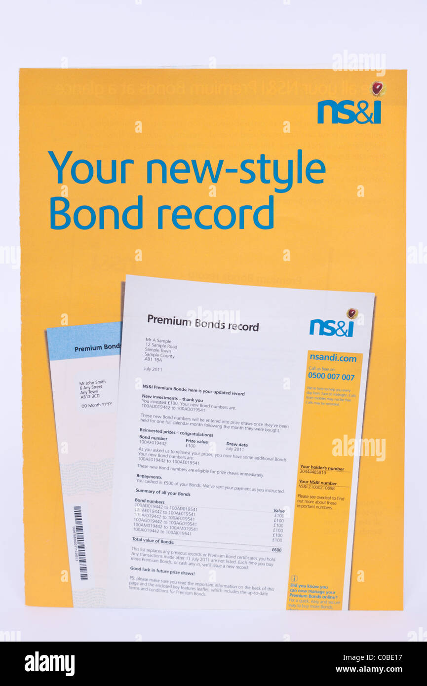 The new style premium bonds record booklet from national savings and investments on a white background - Stock Image
