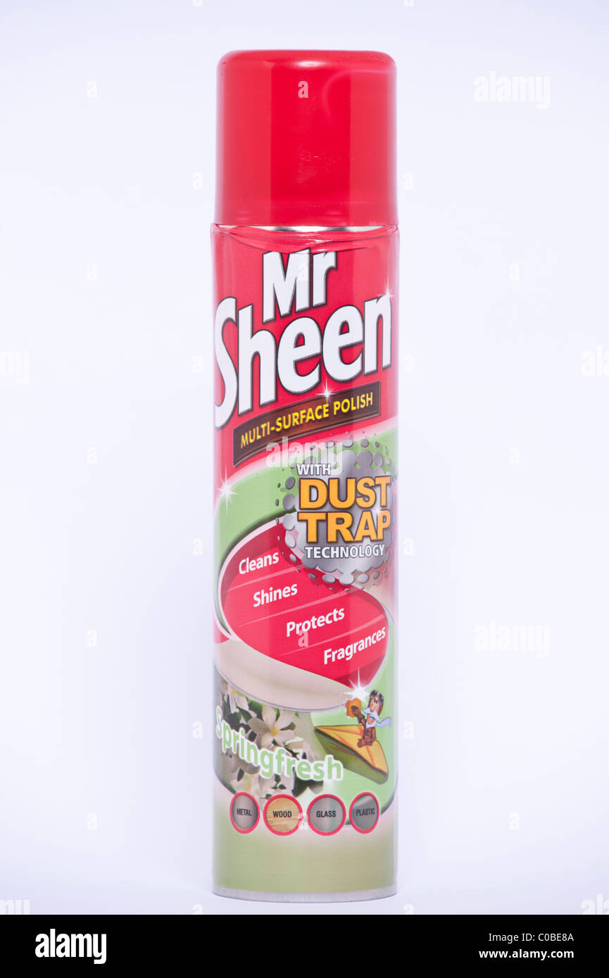 A tin of Mr Sheen multi-surface cleaning polish on a white background - Stock Image