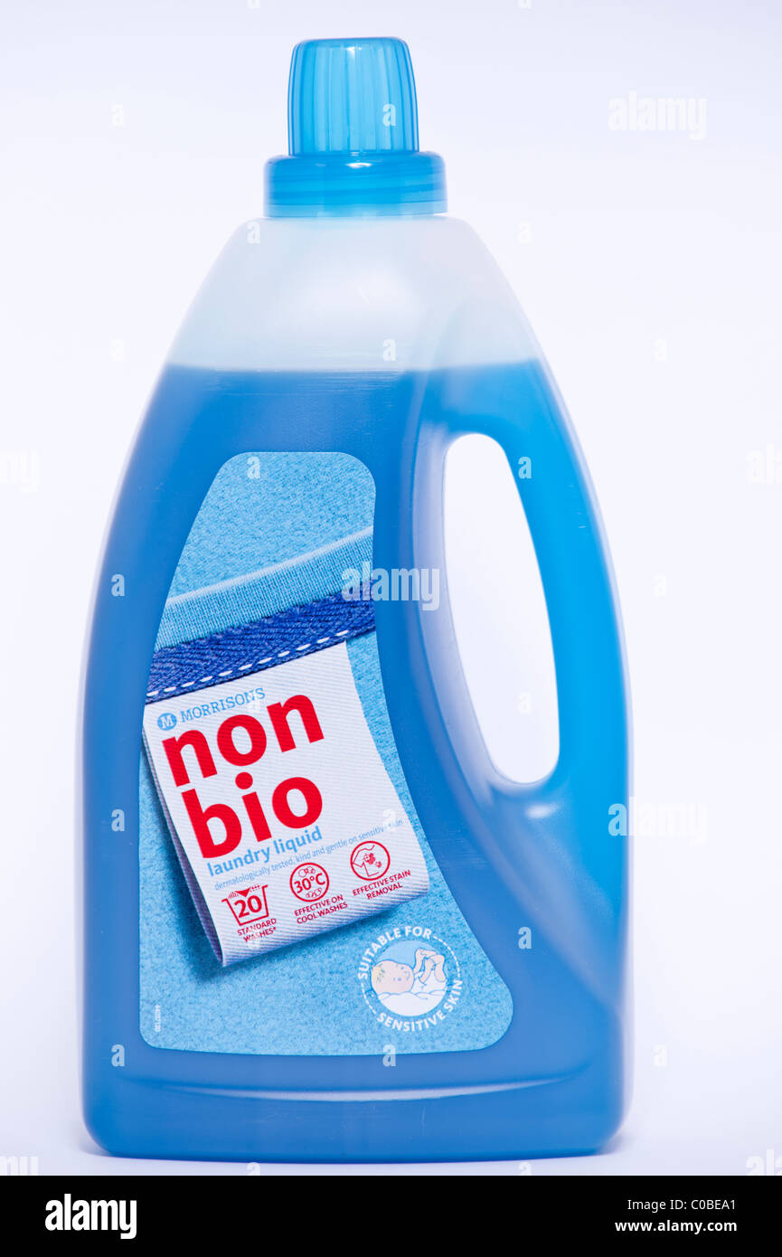 A bottle of Morrisons non bio laundry liquid for clothes washing on a white background - Stock Image