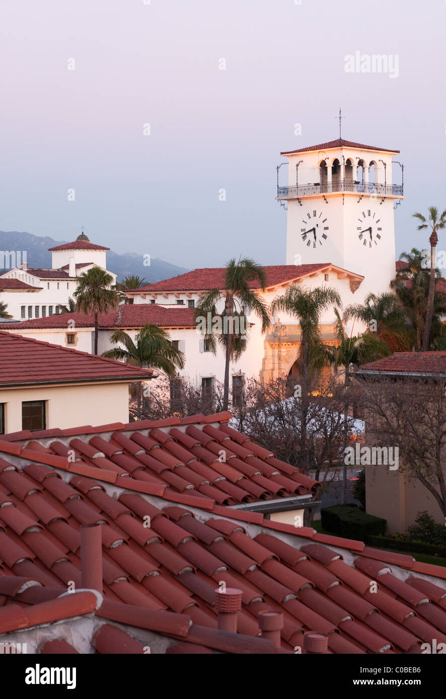 red rooftops and clock tower of Santa Barbara Courthouse in Santa Barbara central California Coast USA - Stock Image