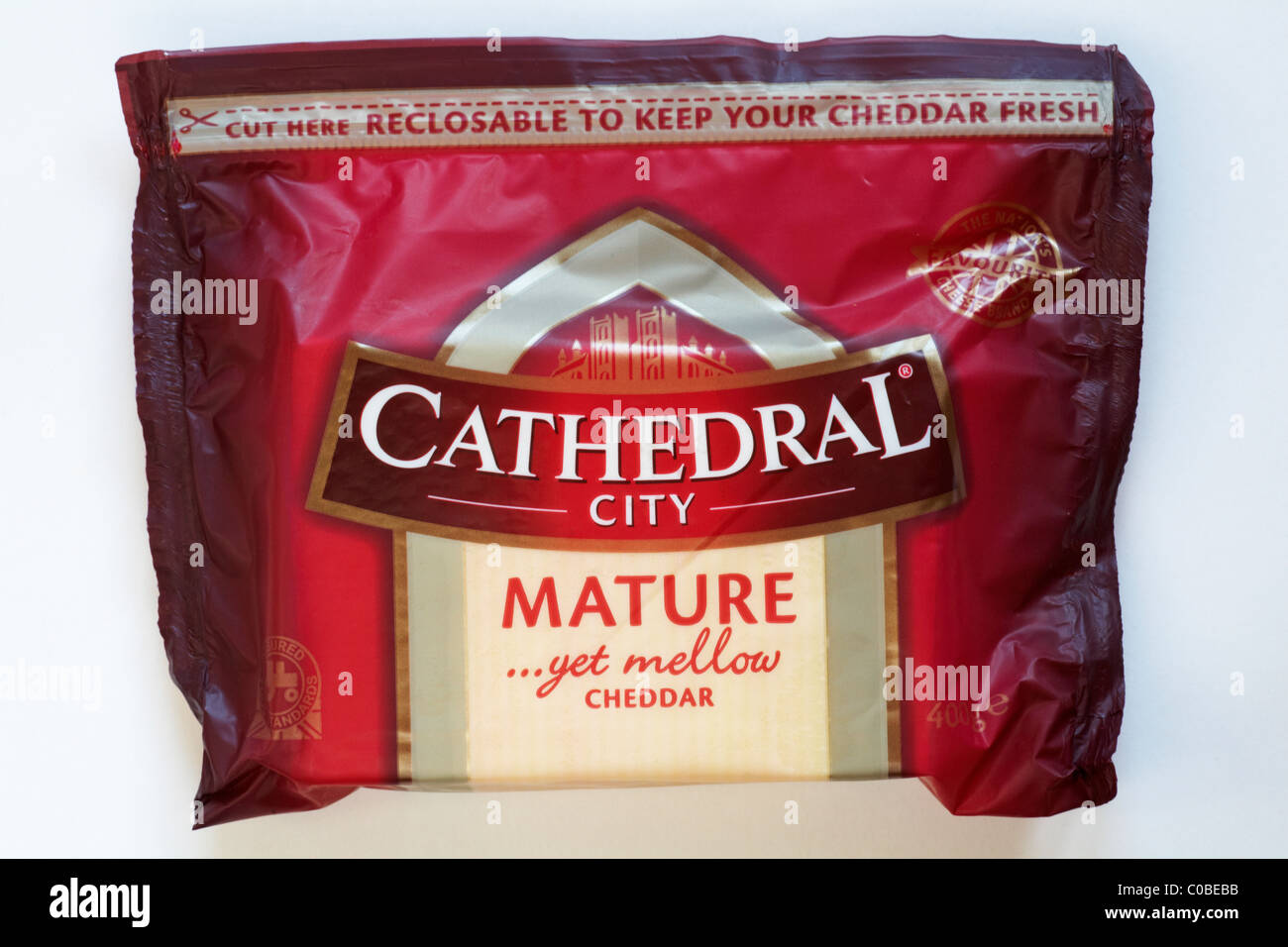 packet of cathedral city mature yet mellow cheddar cheese isolated
