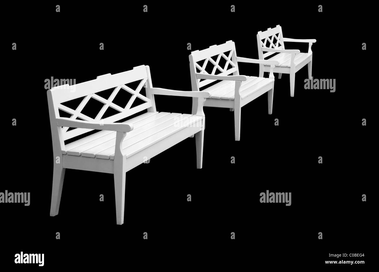 Three isolation on a black background benches - Stock Image