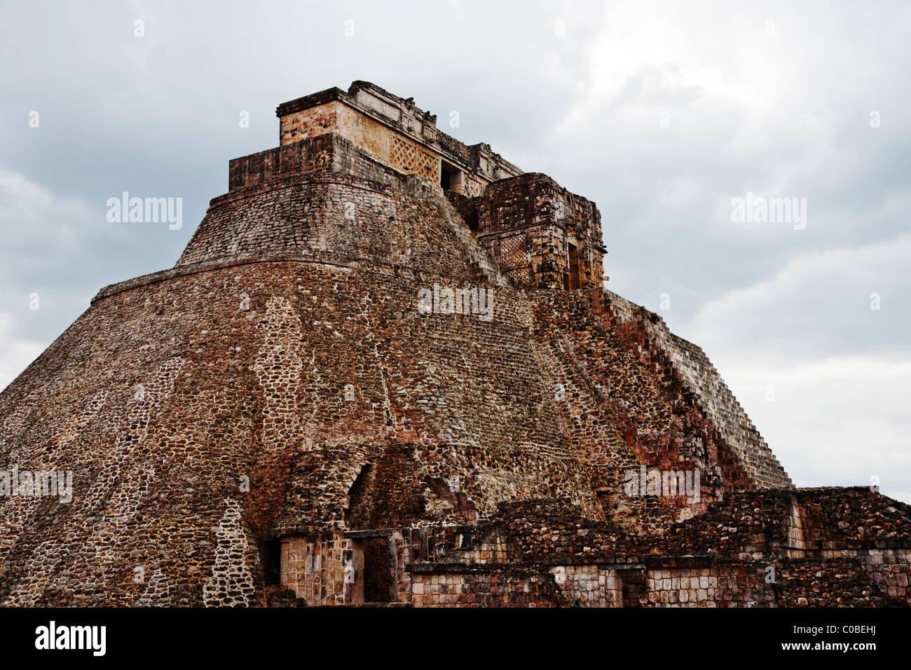 Pyramid of the Magician, Uxmal, Yucatan, Mexico - Stock Image