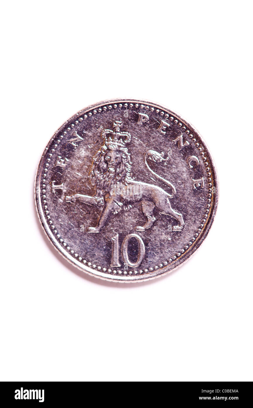 A ten pence 10p coin from English currency on a white background - Stock Image