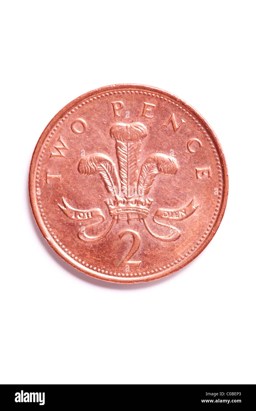 A two pence 2p coin from English currency on a white background - Stock Image