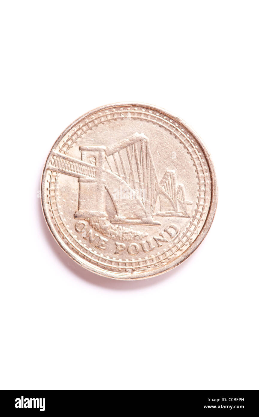 A one pound £1 coin from English currency on a white background - Stock Image