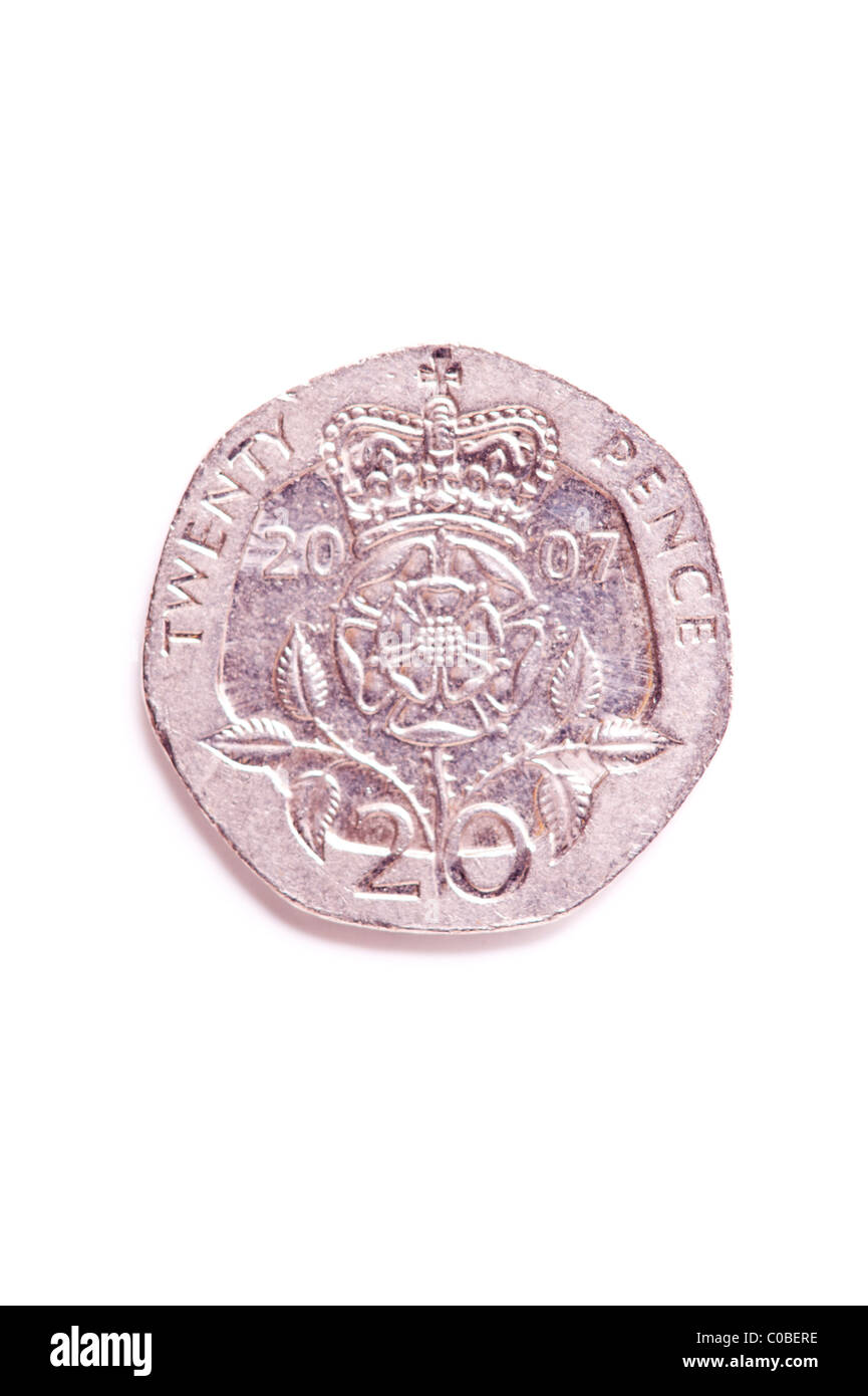 A twenty pence 20p coin from English currency on a white background - Stock Image