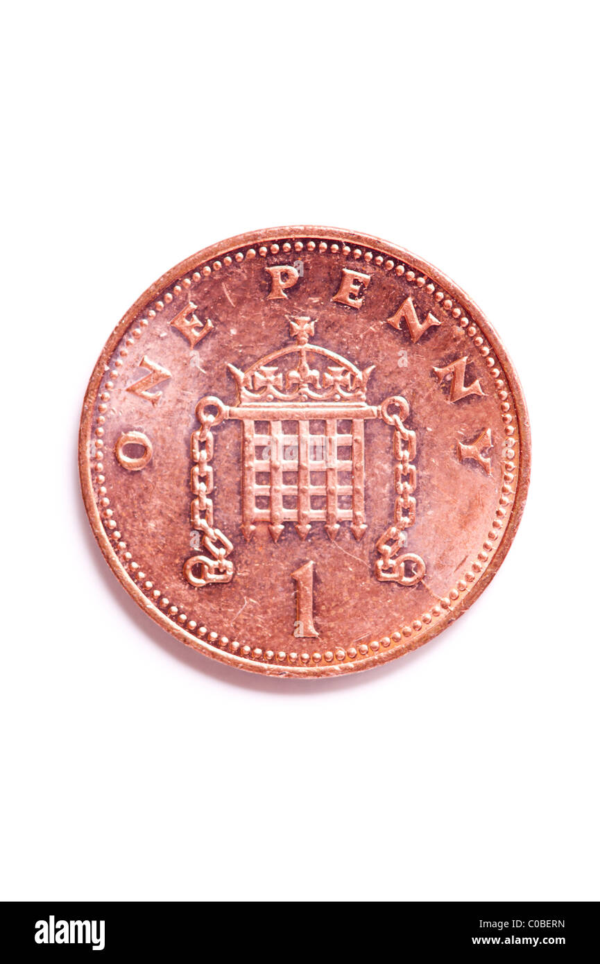 A one pence 1p coin from English currency on a white background Stock Photo