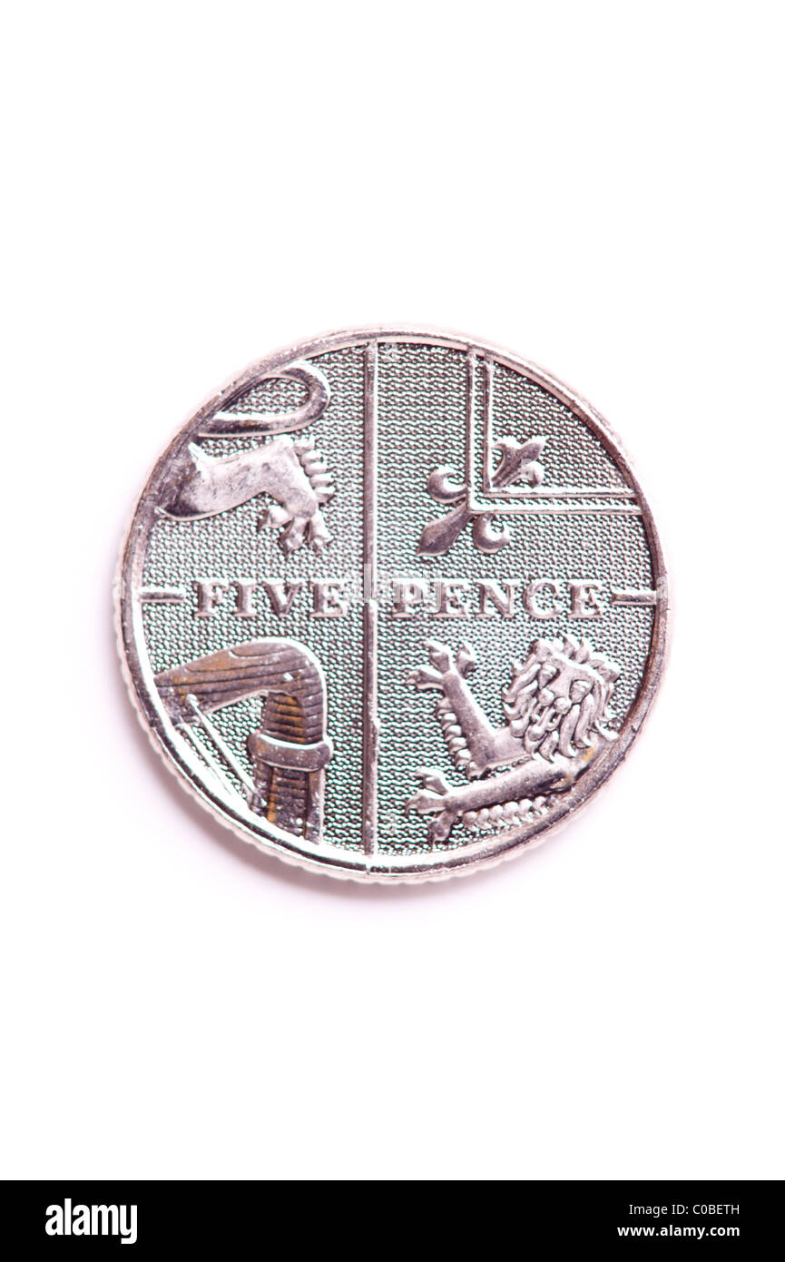 A five pence 5p coin from English currency on a white background - Stock Image