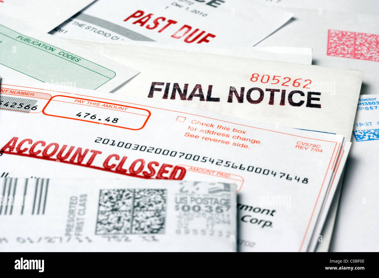 Overdue and Unpaid Bills and Invoices - Stock Image