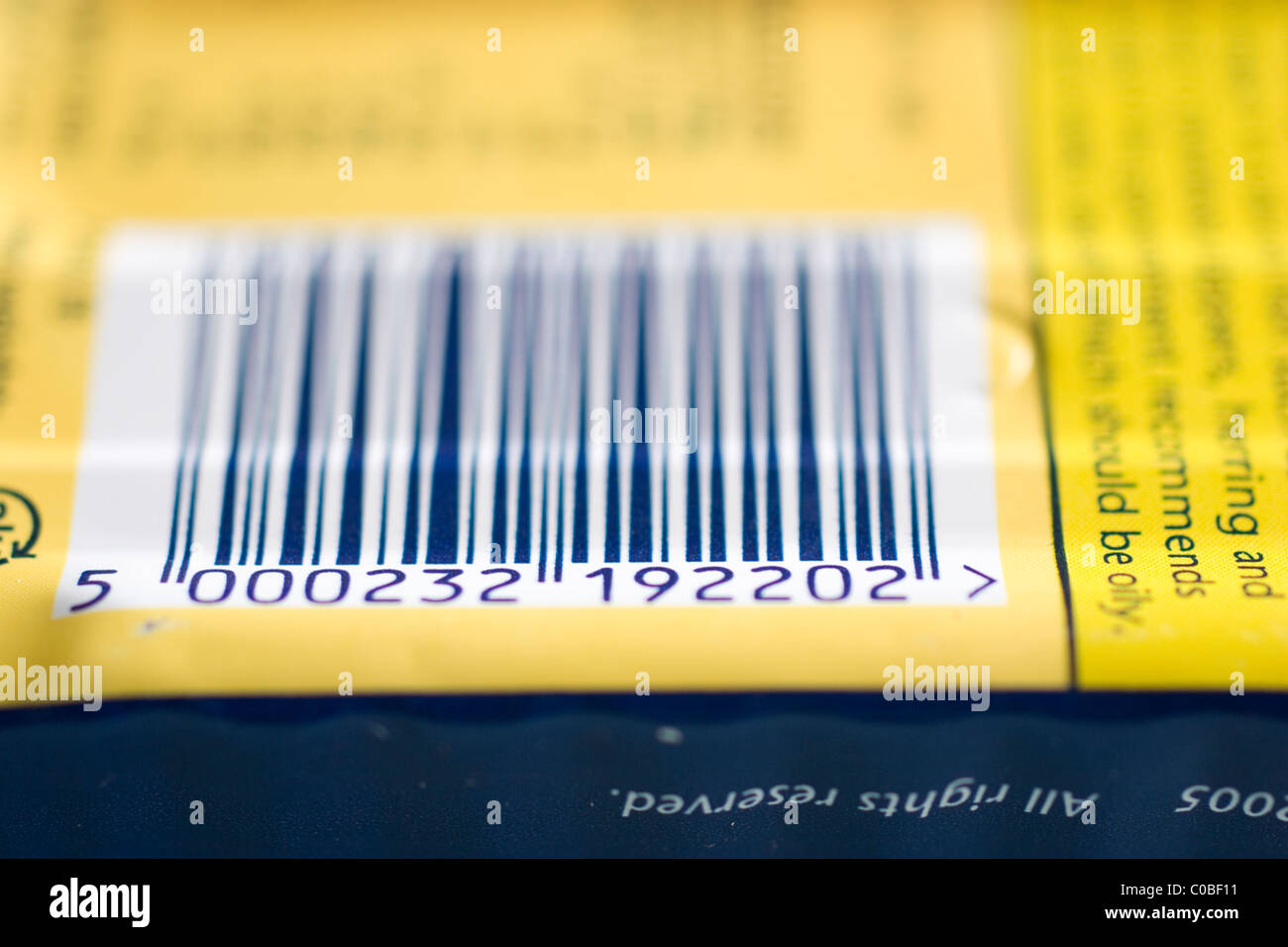 Barcode on food item - Stock Image