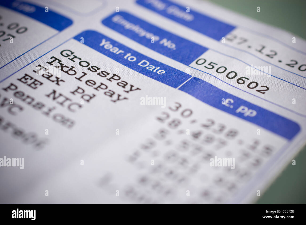 Wage slips, wages pay payslips wageslips - Stock Image