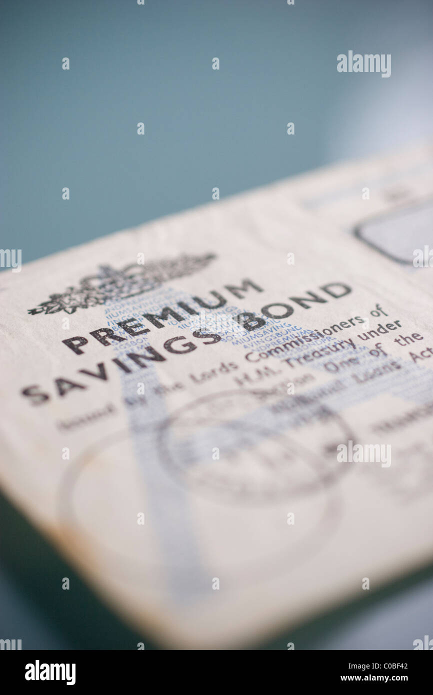 vintage circa 1960 national savings premium bonds - Stock Image