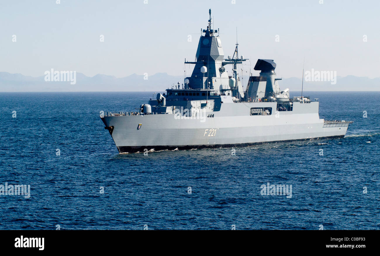 German navy air defense frigate FGS Hessen - Stock Image