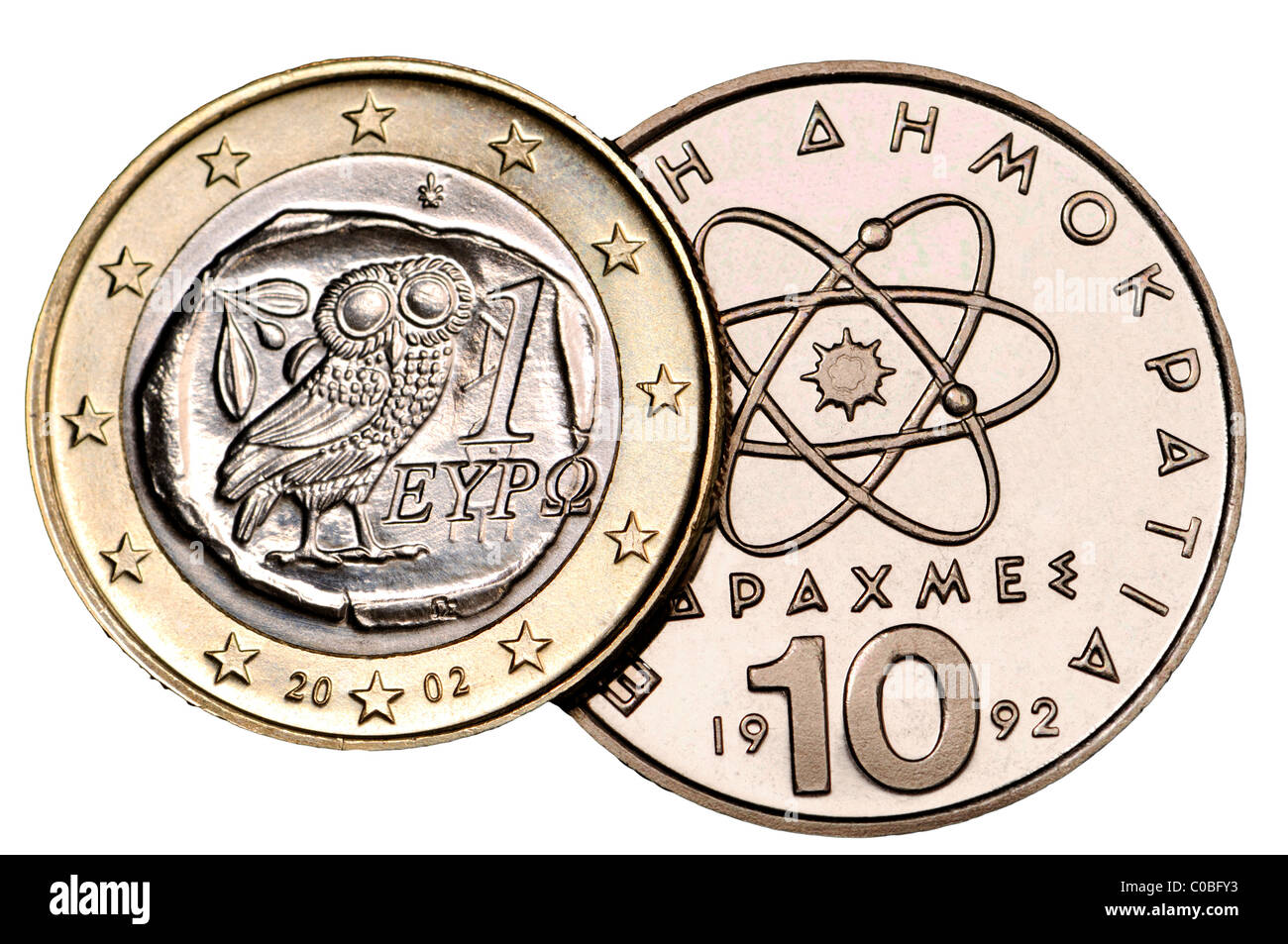 Greek 1 Euro coin from 2002 and 10 Drachma coin from 1992 Stock Photo