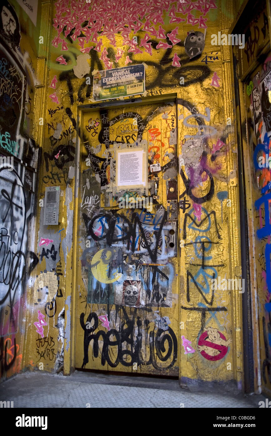 Club entrance, Lower East Side, Manhattan, NYC - Stock Image